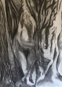 Charcoal drawing of a figure in and out of a tree in a forest