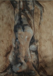 oil painting figurative parts within a tree shape