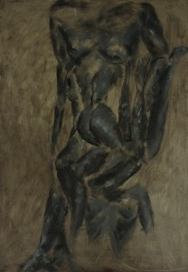 oil painting of figurative torsos and limbs within a tree shape