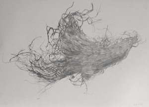 'Set free by one thought' graphite on paper'
